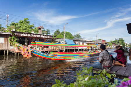 BANGKOK,THAILAND,JUNE 3 2017:The long tail boat at Bangkok yai canal or Khlong Bang Luang Tourist Attraction Thailand