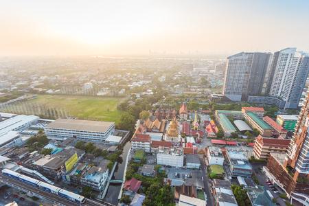 BANGKOK, THAILAND - February 9, 2018 : The Bangkok Mass Transit System (BTS) at Bangna station in Bangkok Thailand.City scape view on metropolis of Thailand.