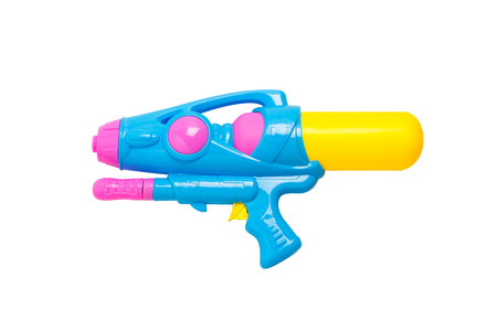 Plastic water gun isolated on white background, songkran festival, thailand