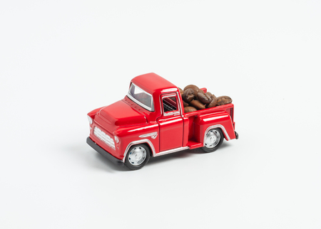 coffee bean on red truck, pickup, on white background, concept delivery coffee bean and transportation.