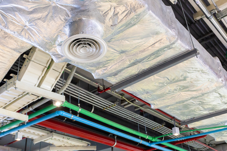 Building interior Air Duct, Air Condition pipe line system indoor industrial. Stock Photo