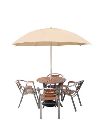 caffe table chair parasol,isolated on white background.