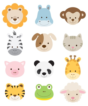 Vector illustration of animal faces including lion, hippo, monkey, zebra, dog, cat, pig, panda, giraffe, tiger, frog, and sheep