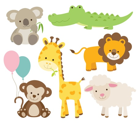 Vector illustration of cute animal set including koala,\ crocodile, giraffe, monkey, lion, and sheep