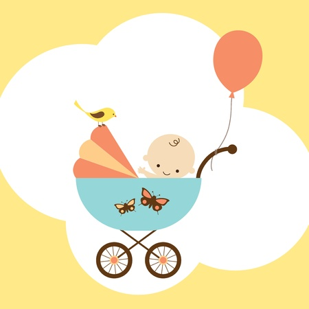 Vector illustration of a happy baby boy in stroller