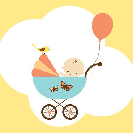 Vector illustration of a happy baby boy in stroller
