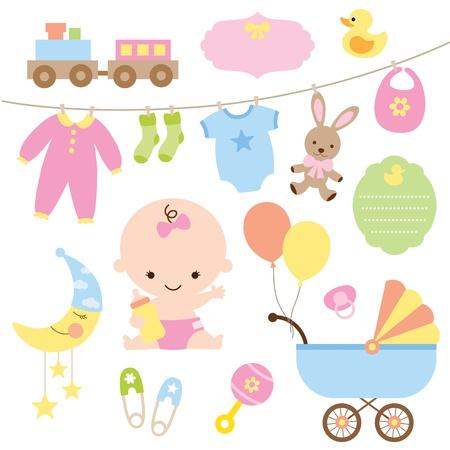 babero: Ilustración vectorial de bebé y artículos relacionados Vectores