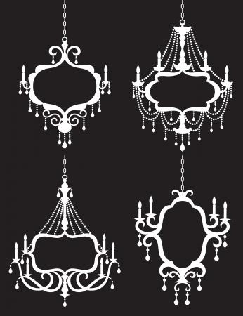 Vector illustration of chandelier frame set  Vectores