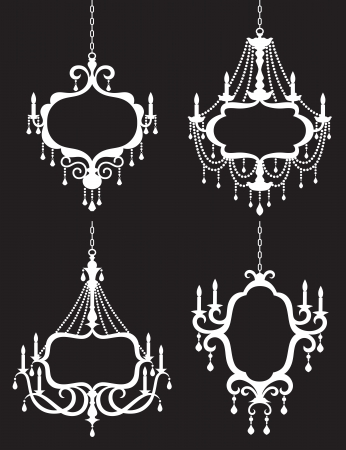 Vector illustration of chandelier frame set  Çizim