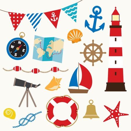 deportes nauticos: Ilustraci�n vectorial de elementos de navegaci�n establecido Vectores
