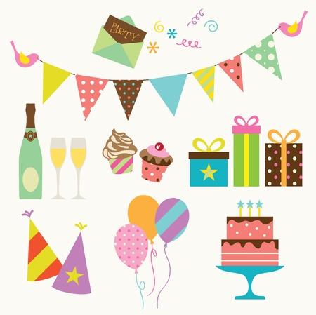 happy birthday party: Ilustraci�n vectorial de la colecci�n de fiesta Vectores