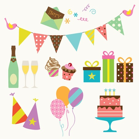 birthday party: Vector illustration of party collection