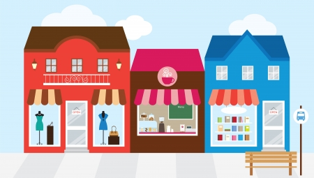 shop window: Vector illustration of strip mall shopping center