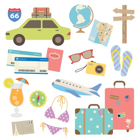 Vector illustration of design elements related to travel and vacation  Çizim