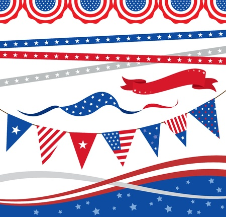 Vector illustration of  4th of July  borders and graphic elements