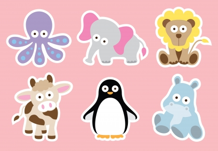 stuffed animals: Vector illustration of cute animal characters
