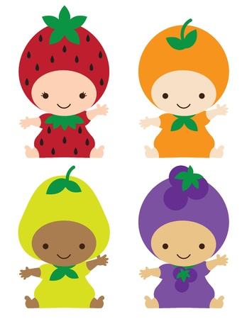 illustration of smiling babies in strawberry, orange, pear, and grape costumes
