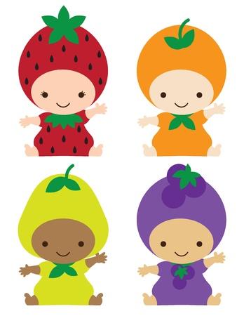 딸기, 오렌지, 배, 포도 의상 웃는 아기의 그림