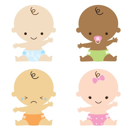 diaper baby: illustration of babies