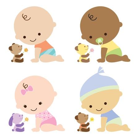 bebes: ilustración de los niños y niña con lindo oso de peluche