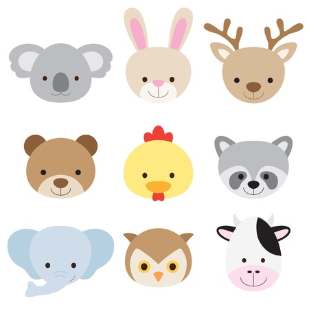 Vector illustration of animal faces including koala, rabbit, deer, bear, chicken, raccoon, elephant, owl, and cow