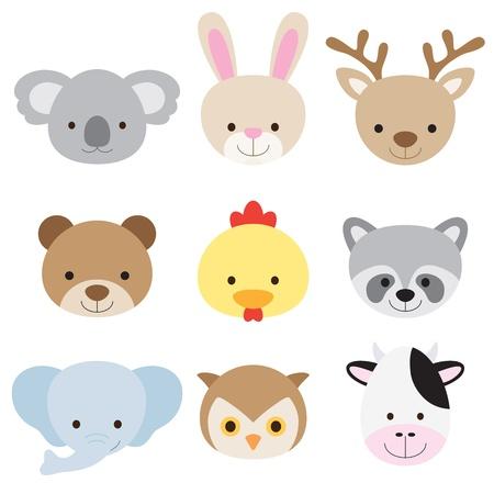 Vector illustration of animal faces including koala, rabbit, deer, bear, chicken, raccoon, elephant, owl, and cow