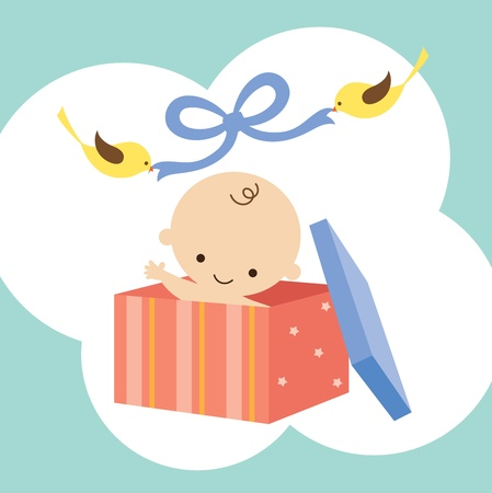 Vector illustration of a baby in a gift box with two birds holding ribbon  Vectores