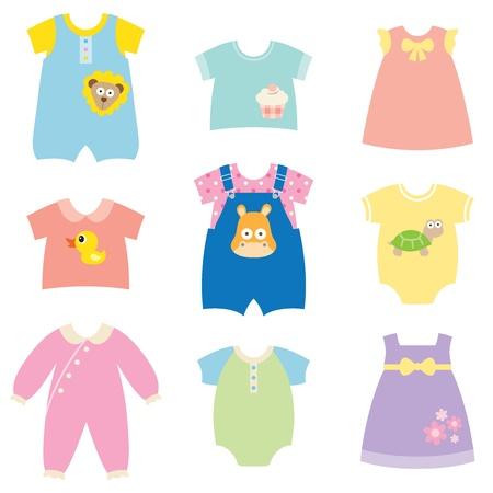 아기와 어린이 옷 컬렉션의 벡터 컬렉션