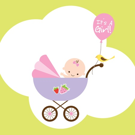 Vector illustration of a happy baby girl in stroller