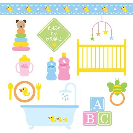 bebe a bordo: Ilustración vectorial de productos para bebés en colores pastel