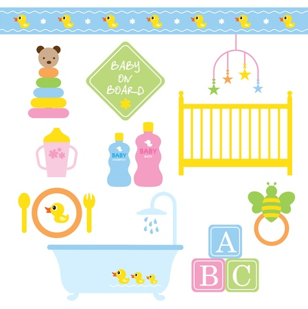plate: Vector illustration of baby products in pastel colors