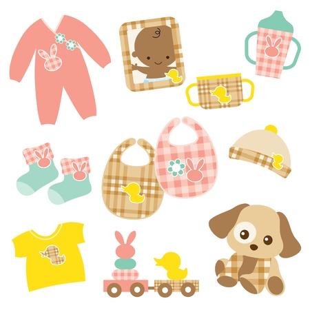 아기 제품에 핑크와 브라운 격자 무늬 패턴의 벡터 일러스트 레이 션은 견본에 포함되어 있습니다 일러스트
