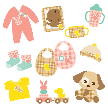 stuff toys: Vector illustration of baby products  Pink and brown plaid patterns are included in swatch