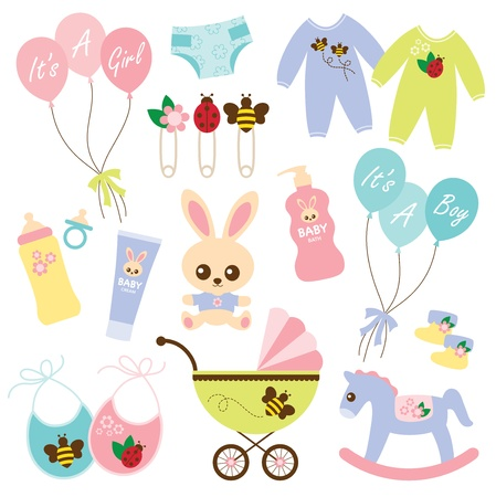 stuff toys: Vector illustration of a variety of baby products
