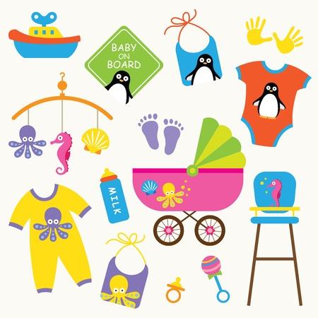 babero: Ilustración vectorial de conjunto de productos para bebés
