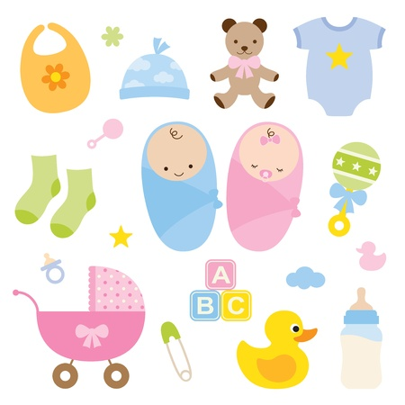 Vector illustration of babies and baby products  Vector
