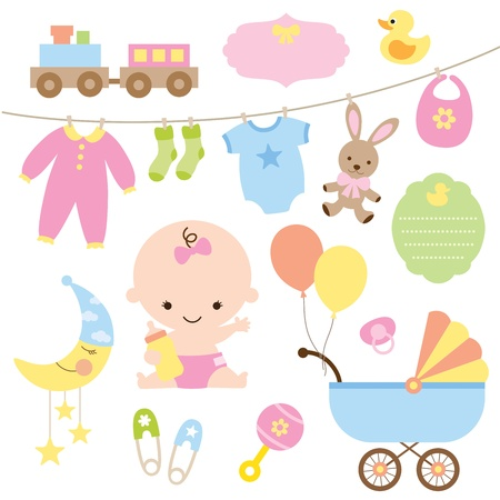 cute baby girls: Vector illustration of baby and related items