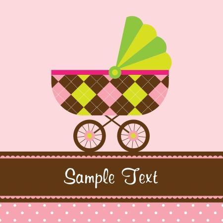 Vector Illustration of a baby stroller  Stock Illustratie