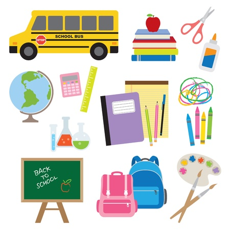 Vector illustration of school stuff