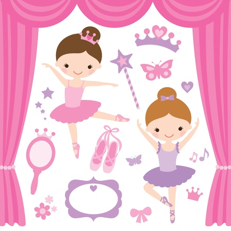 girl magic wand: Vector illustration of little ballerinas and other related items