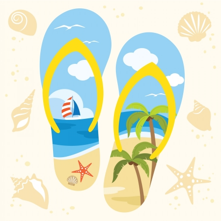 Vector illustration of a sandal with beach view  Vector
