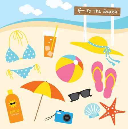 Vector illustration of items related to the beach activities