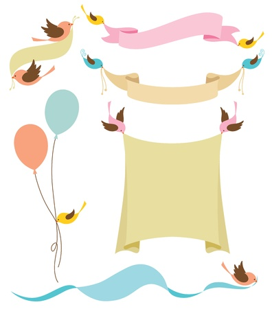 illustration of cute birds holding banners