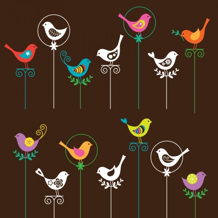 illustration of a colorful bird collection