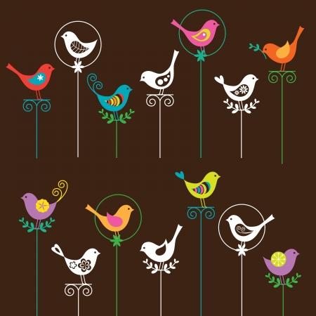 Ilustración de una colección de aves de colores