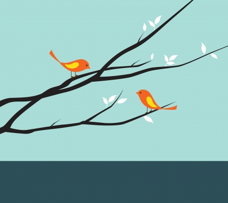 illustration of birds on branches
