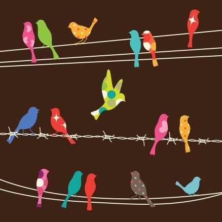 전선에 다채로운 조류의 그림