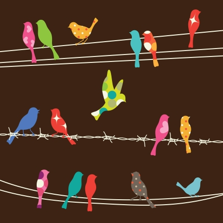 birds on a wire: illustration of colorful birds on wires