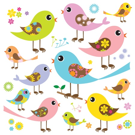 illustration of cute and colorful birds  Can be used to create pattern  Vector