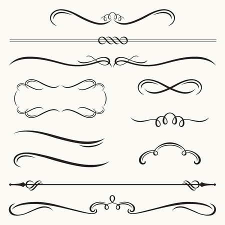 illustration of decorative border and frame set